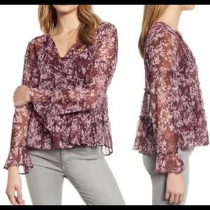 Lucky Brand Bell Sleeve Printed Burgundy Top Sheer